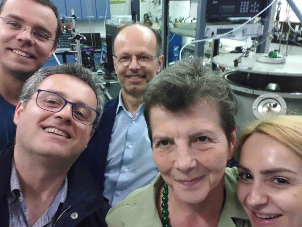 """all the """"crew"""" of the LIFT deposition: from the left dr. Antoniu Moldovan (AFM characterization), Francesco, Leonardo, Prof. Maria Dinescu (Team leader of Photonic Processing of Advanced Materials) and dr. Alexandra Palla (LIFT depostion)."""
